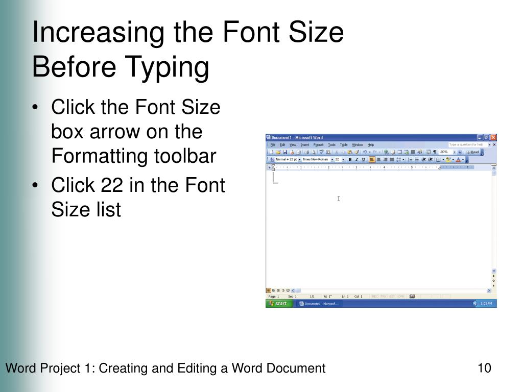 Increasing the Font Size