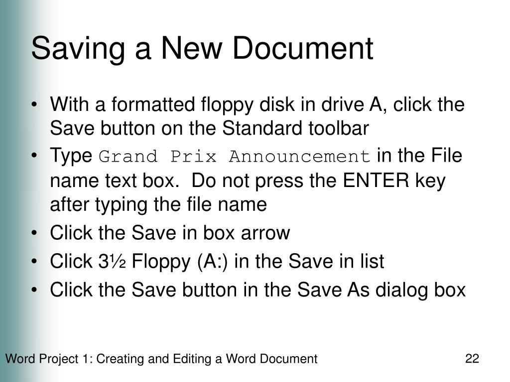 Saving a New Document