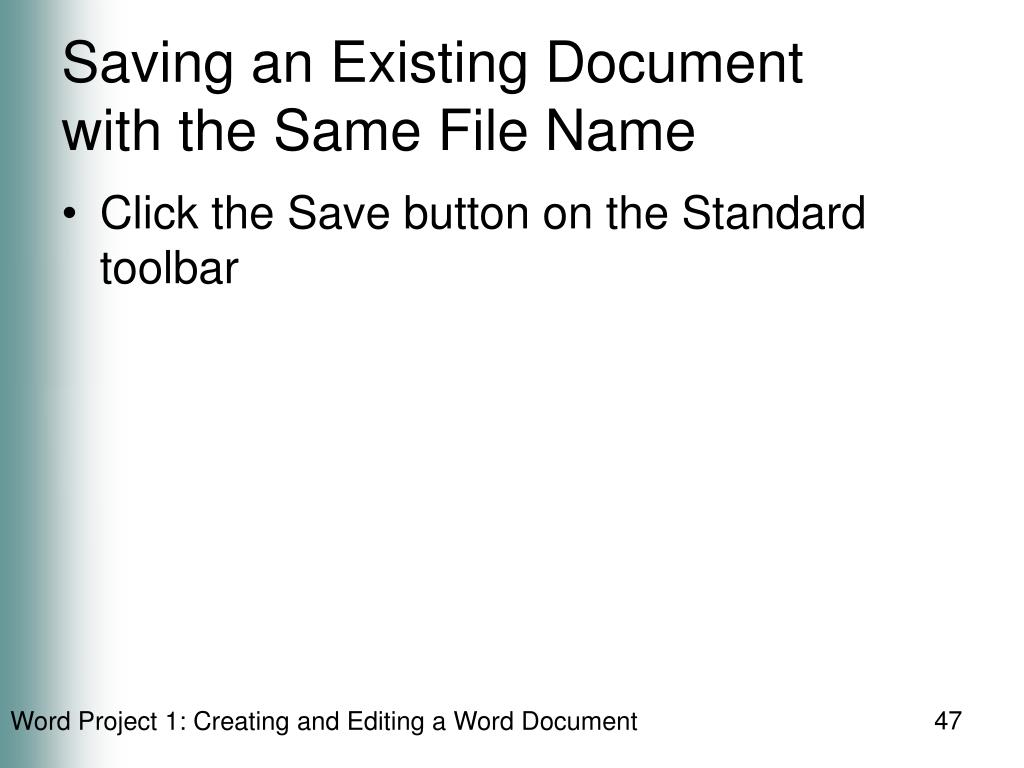Saving an Existing Document
