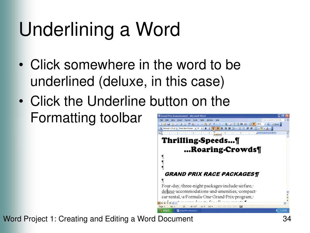 Underlining a Word
