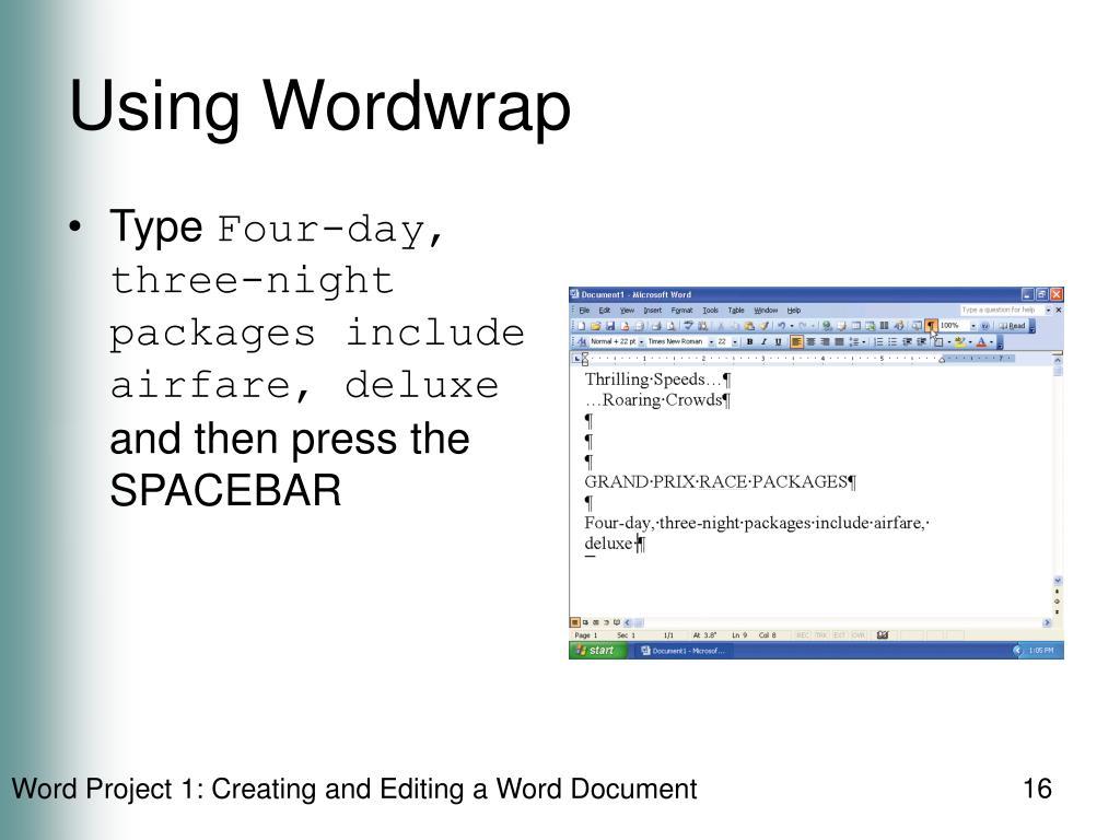 Using Wordwrap
