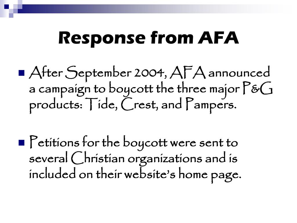 Response from AFA