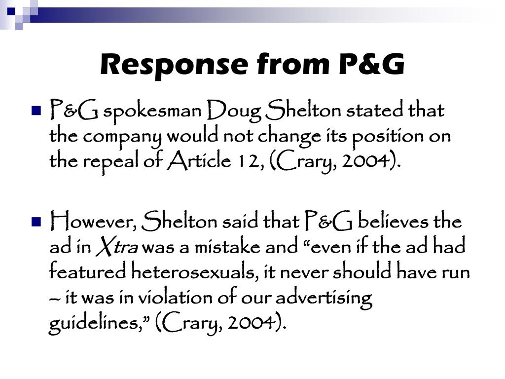 Response from P&G