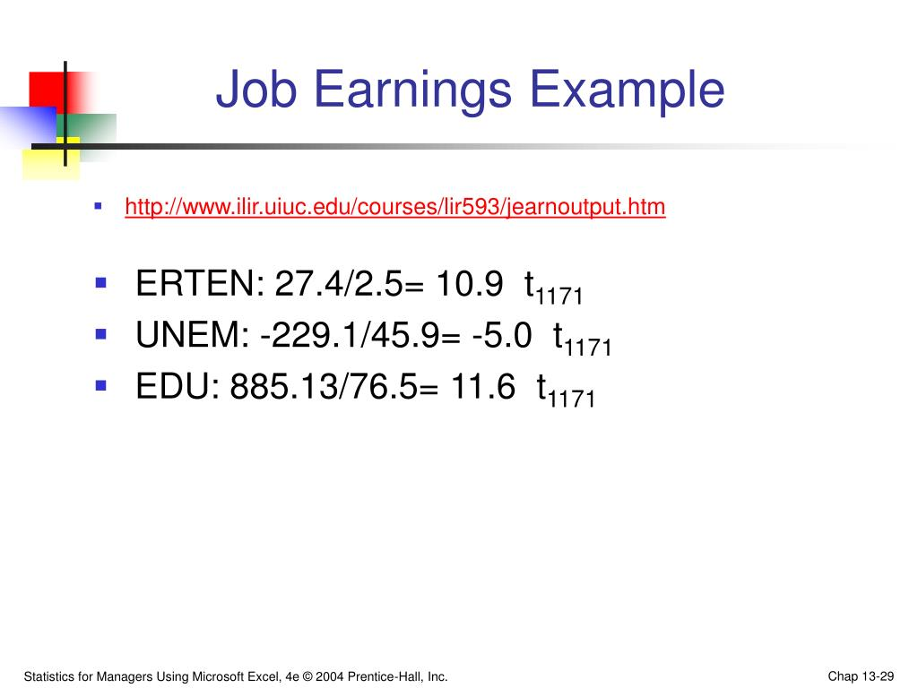 Job Earnings Example
