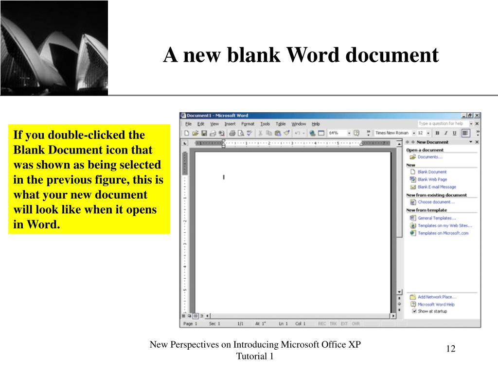 A new blank Word document