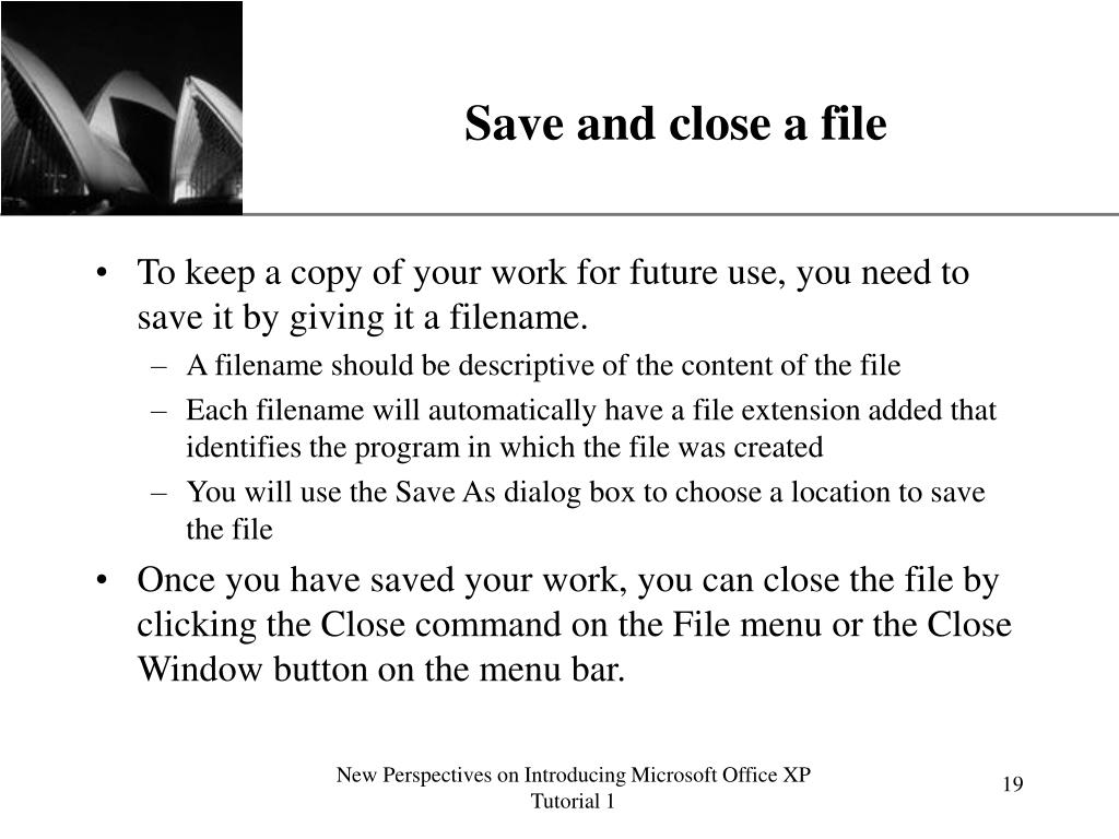 Save and close a file