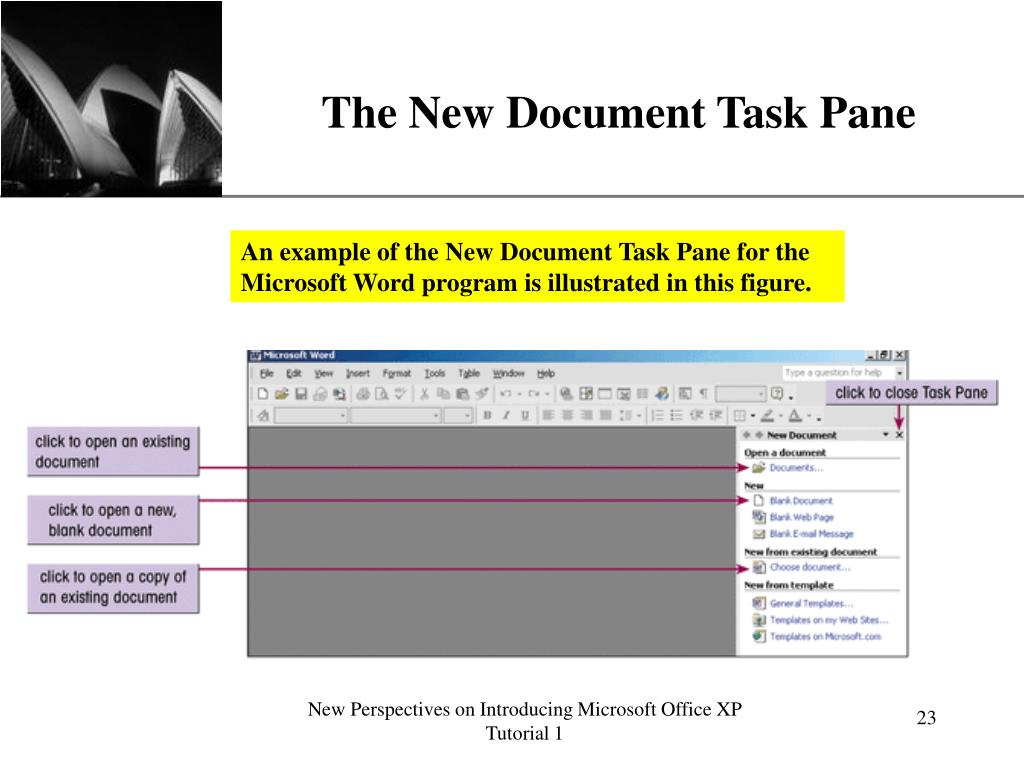 The New Document Task Pane