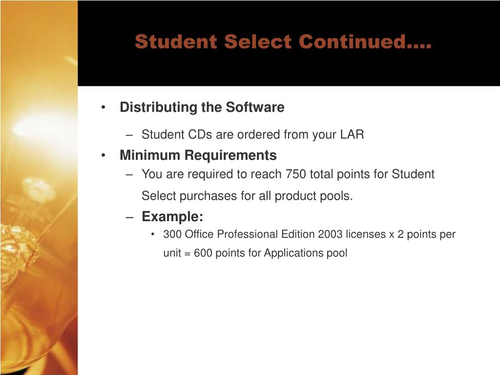 Student Select Continued….