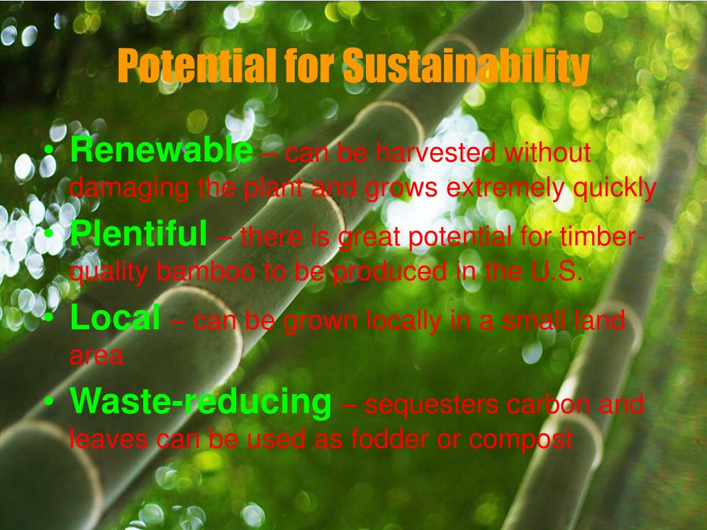 Potential for Sustainability