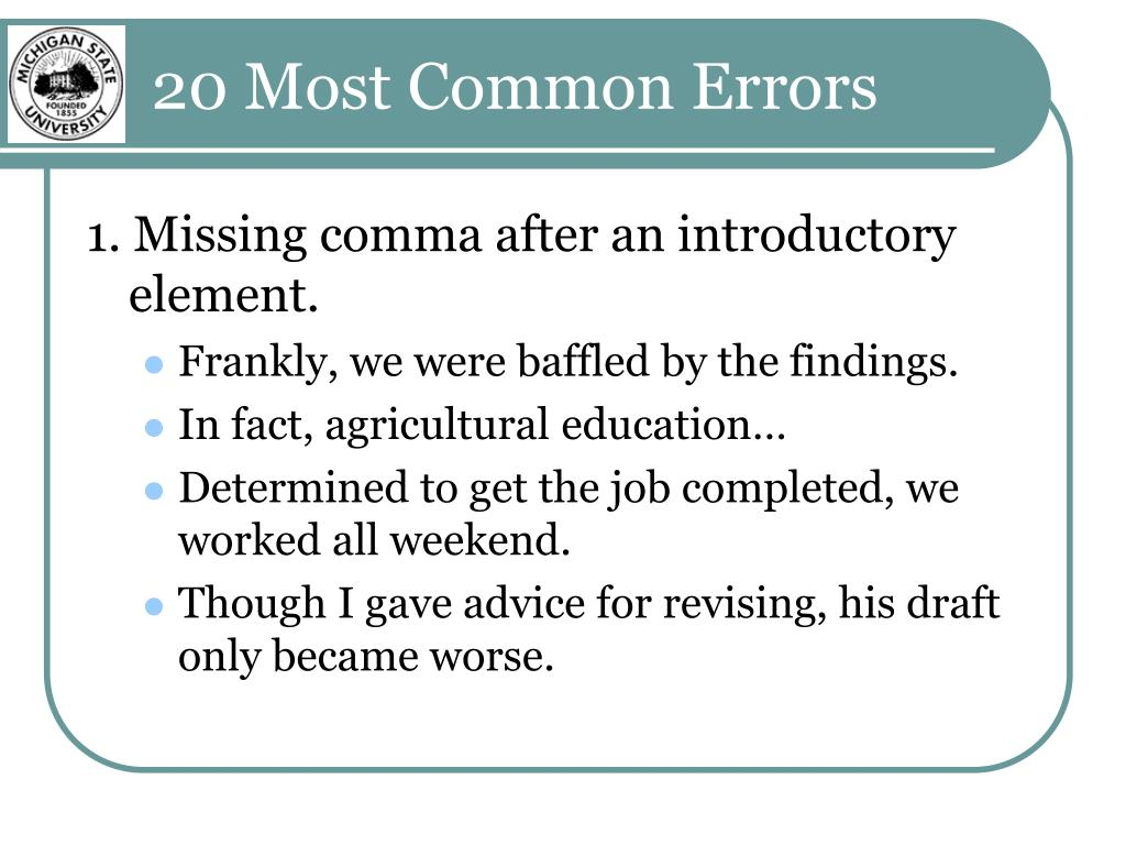 20 Most Common Errors