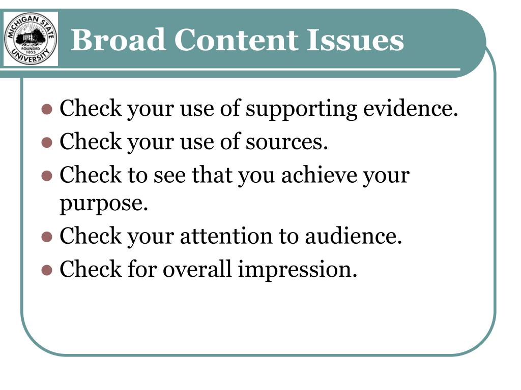Broad Content Issues