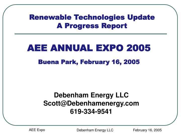Aee annual expo 2005 buena park february 16 2005