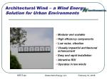 architectural wind a wind energy solution for urban environments