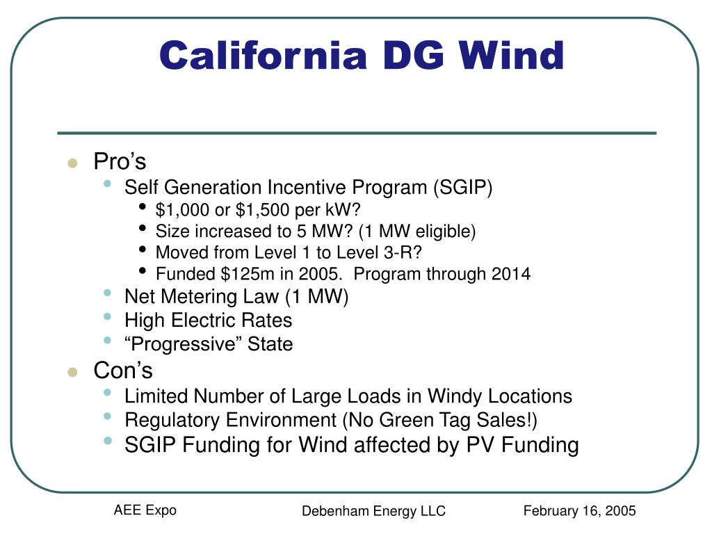 California DG Wind