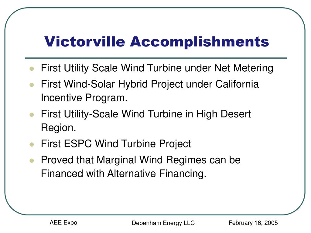 Victorville Accomplishments