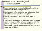preconception counseling and teratogenicity