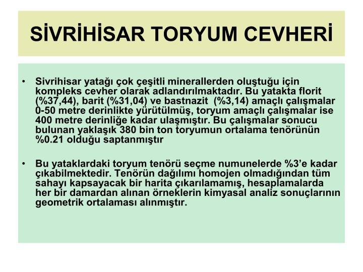 SİVRİHİSAR TORYUM CEVHERİ