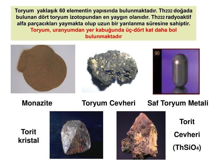 Toryum  yaklaşık 60 elementin yapısında bulunmaktadır. Th