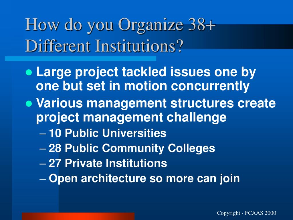 How do you Organize 38+ Different Institutions?