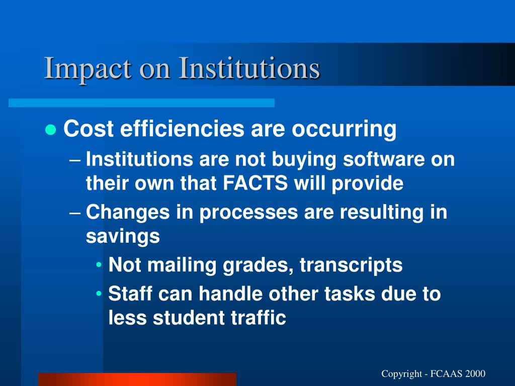 Impact on Institutions