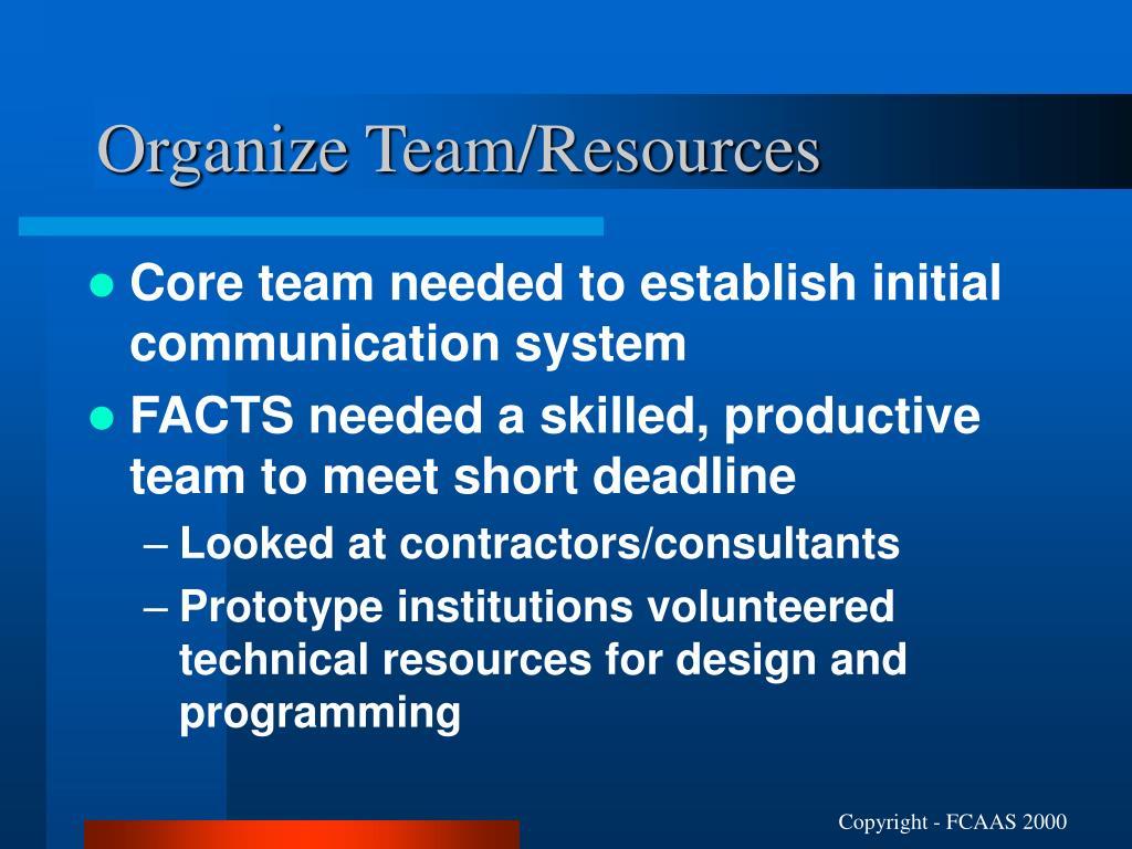 Organize Team/Resources