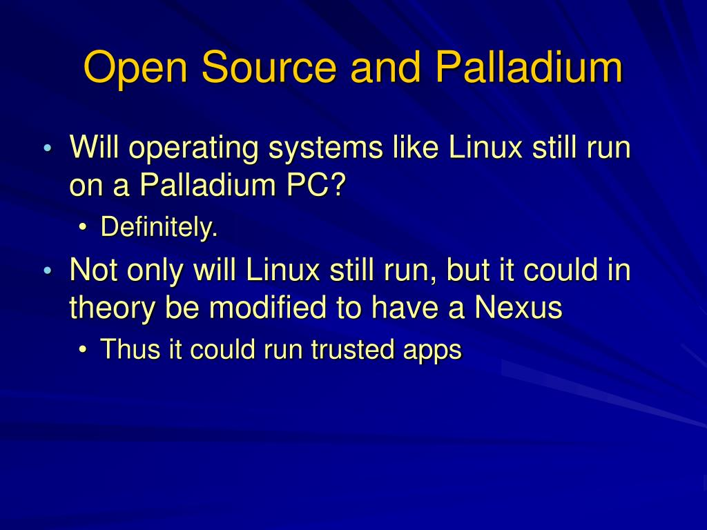 Open Source and Palladium