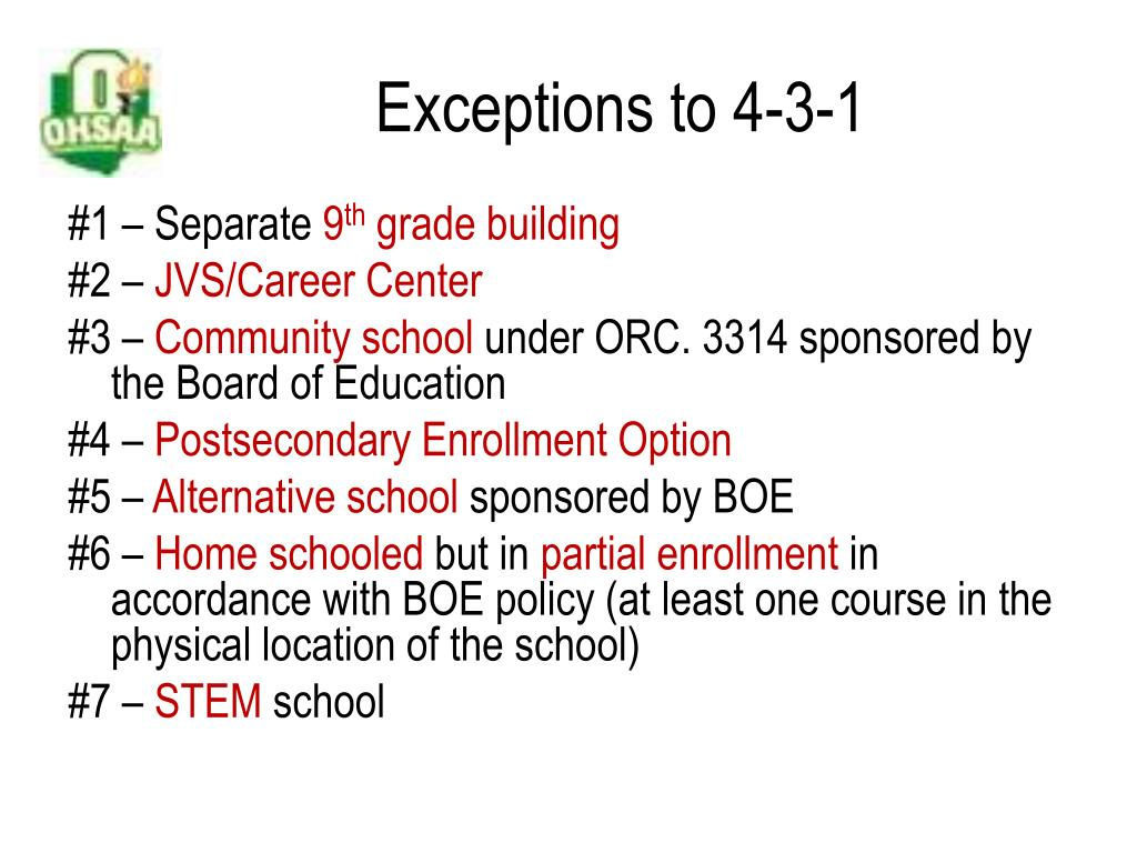 Exceptions to 4-3-1