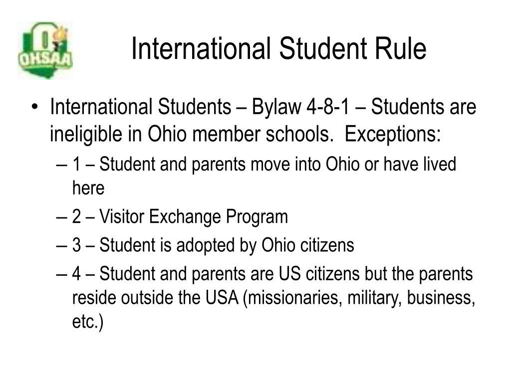 International Student Rule