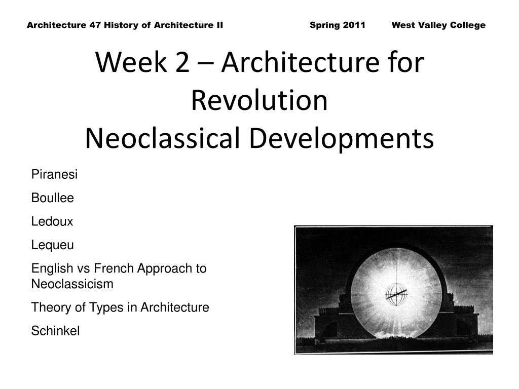 Week 2 – Architecture for Revolution