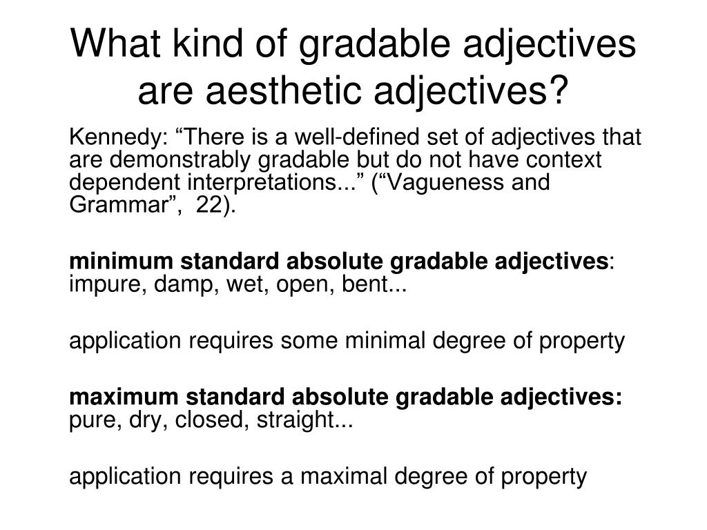 What kind of gradable adjectives are aesthetic adjectives?