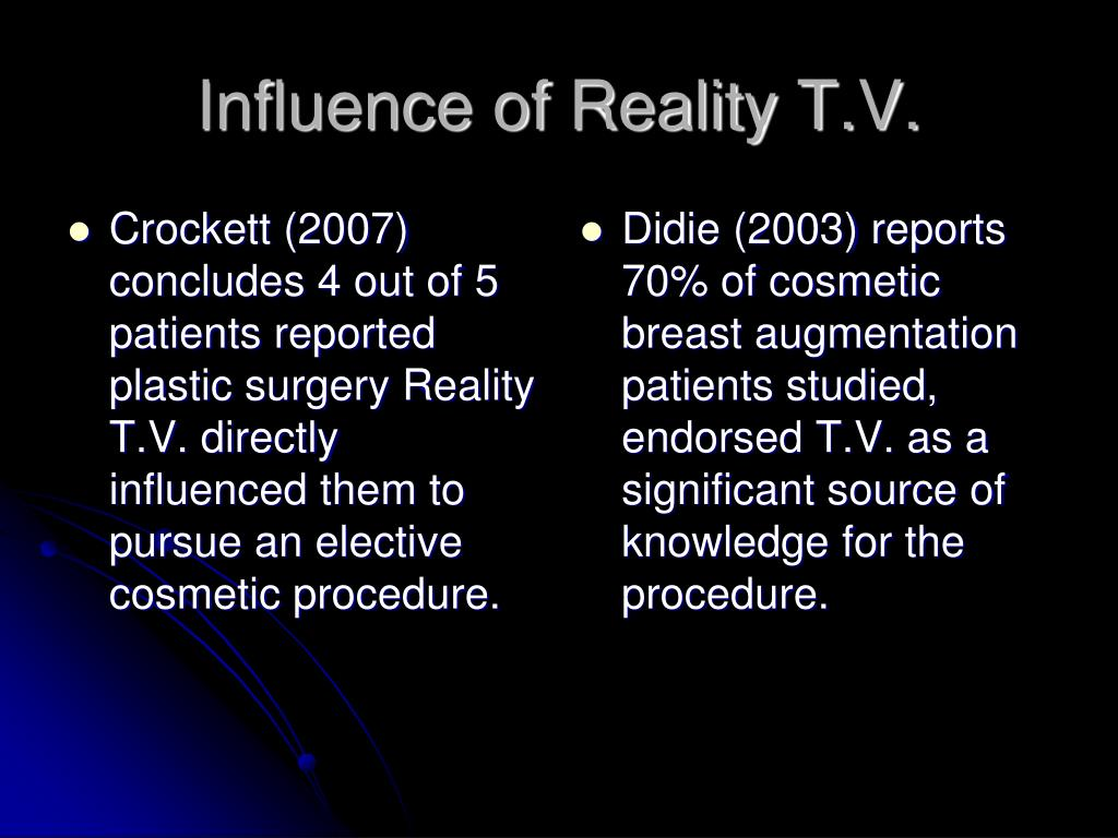 Crockett (2007) concludes 4 out of 5 patients reported plastic surgery Reality T.V. directly influenced them to pursue an elective cosmetic procedure.