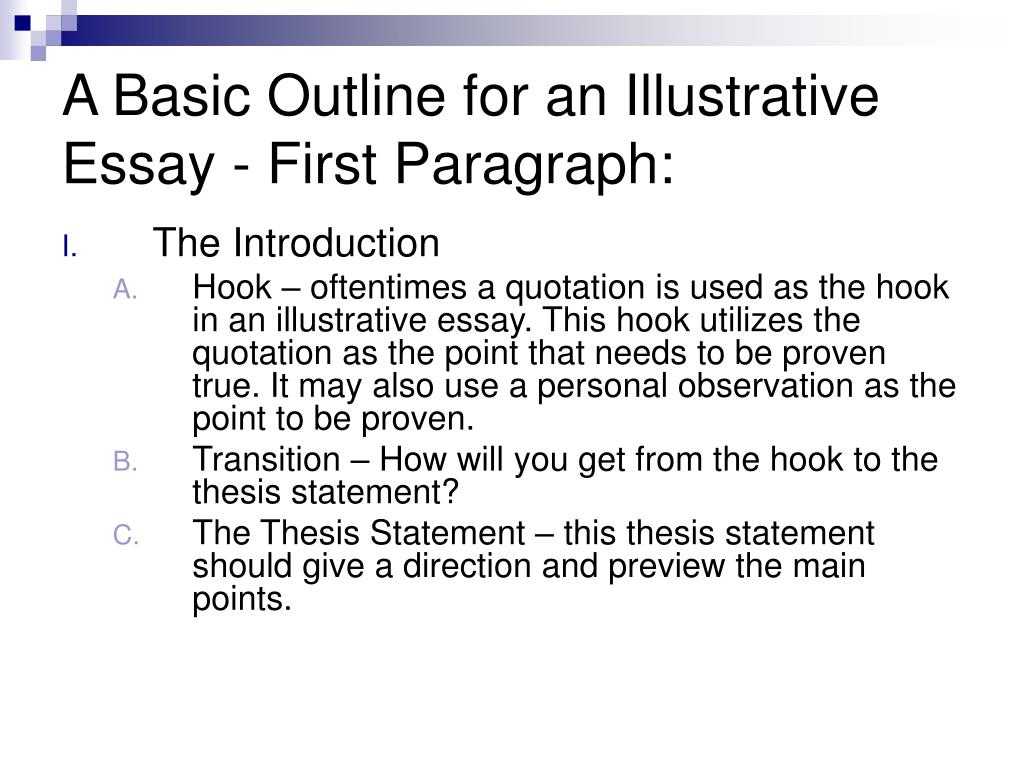 A Basic Outline for an Illustrative Essay - First Paragraph: