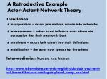 a retroductive example actor actant network theory