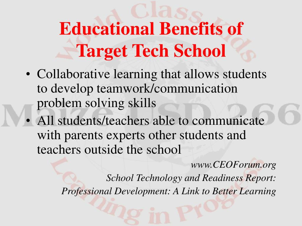 Collaborative learning that allows students to develop teamwork/communication problem solving skills