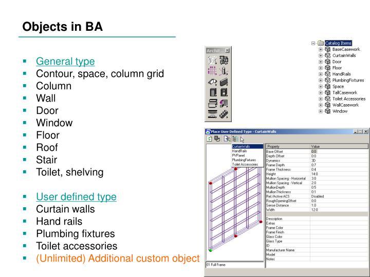 Objects in BA