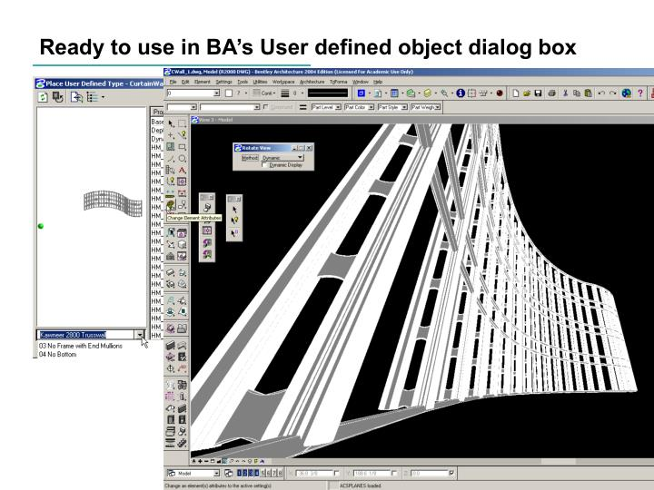 Ready to use in BA's User defined object dialog box