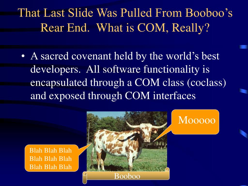 That Last Slide Was Pulled From Booboo's Rear End.  What is COM, Really?