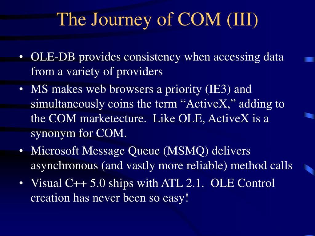 The Journey of COM (III)