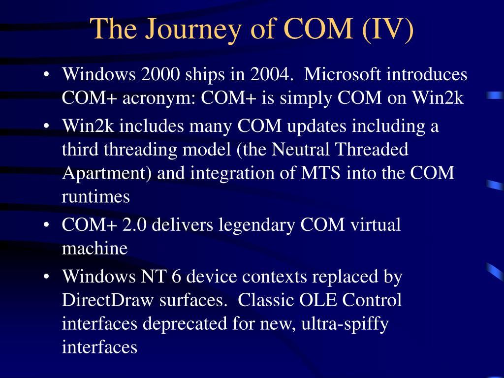 The Journey of COM (IV)