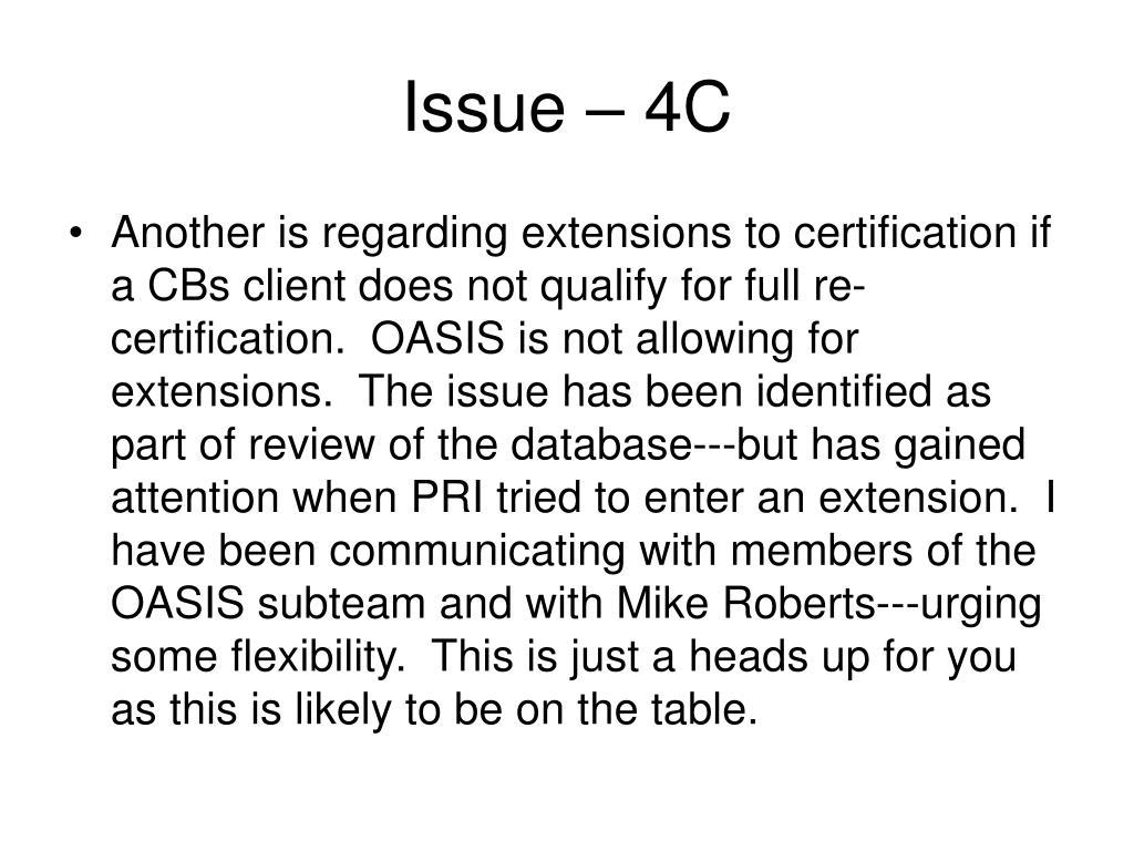 Issue – 4C