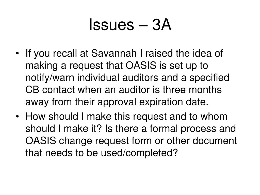 Issues – 3A