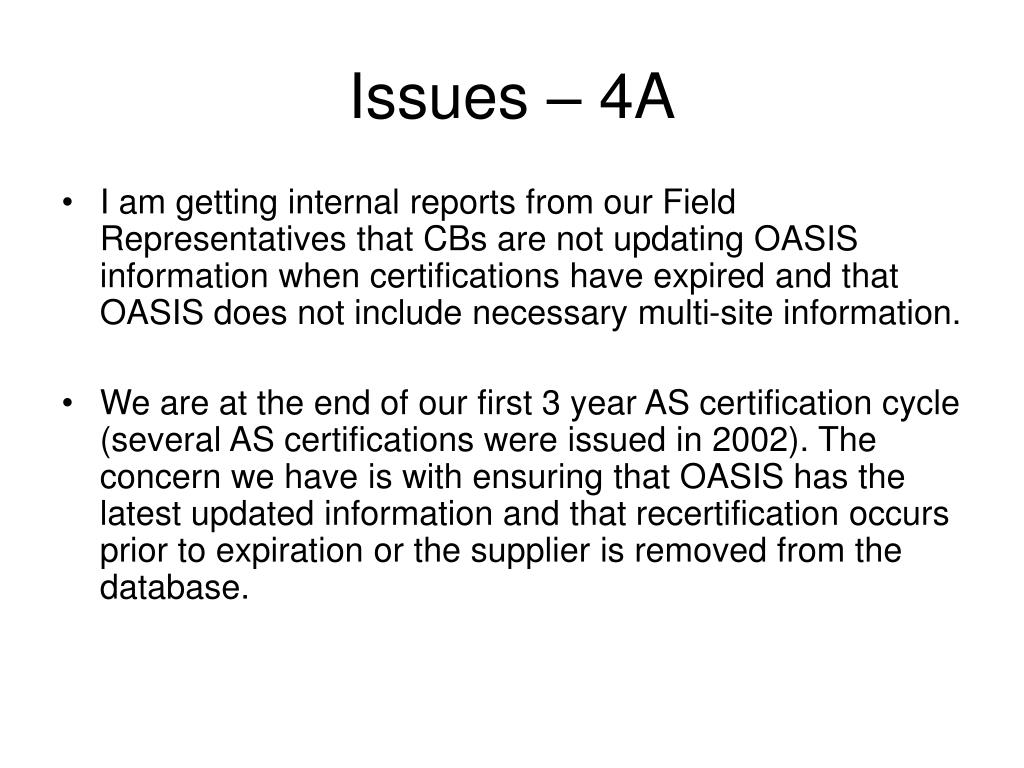 Issues – 4A
