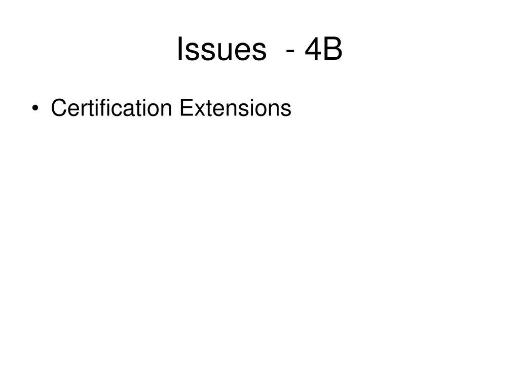 Issues  - 4B