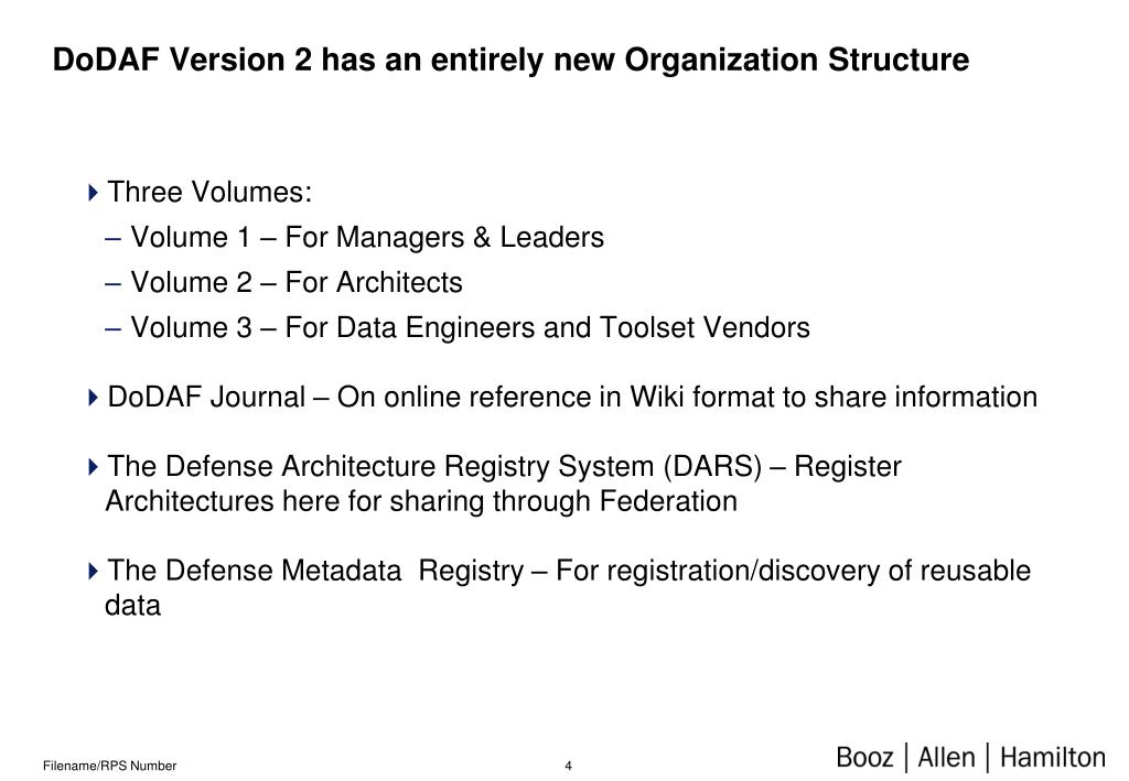 DoDAF Version 2 has an entirely new Organization Structure