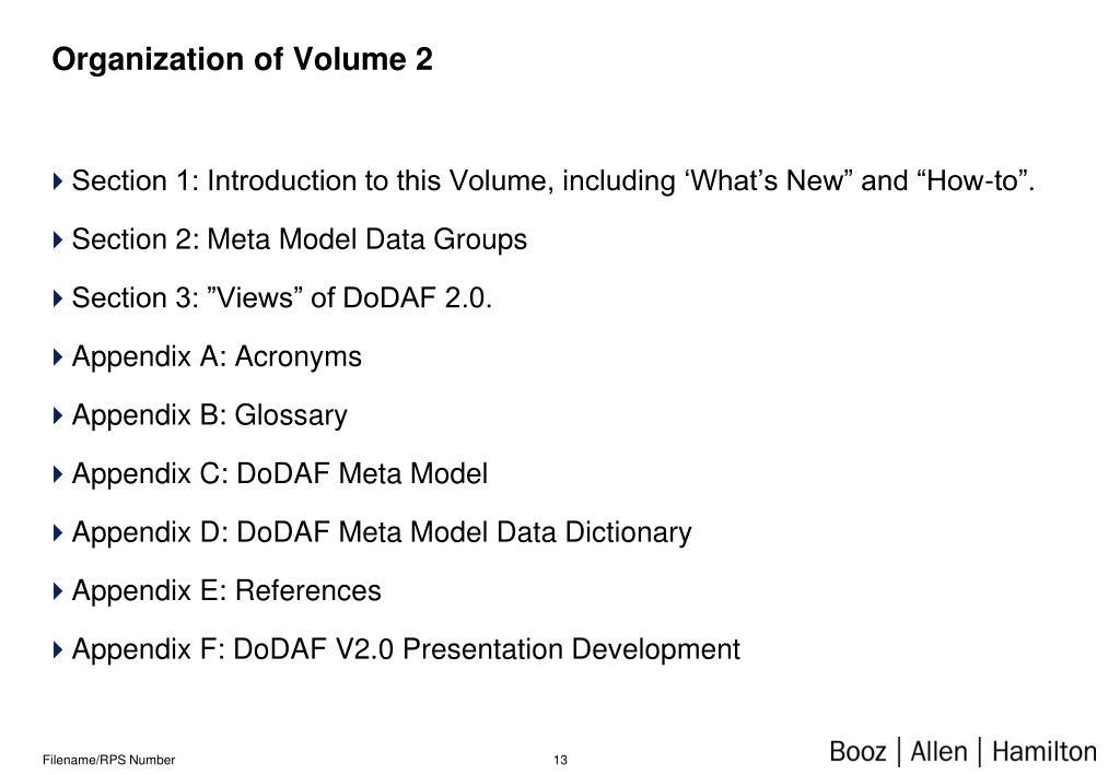 Organization of Volume 2