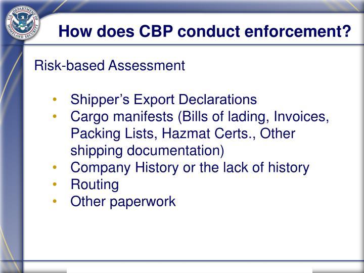 How does CBP conduct enforcement?