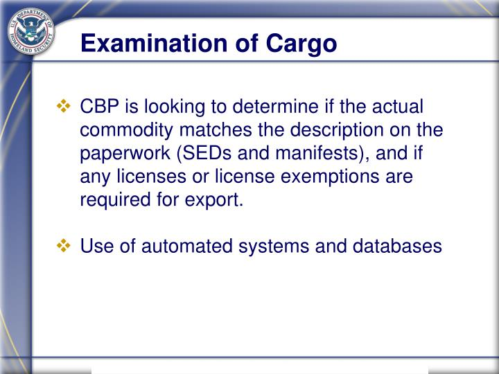 Examination of Cargo