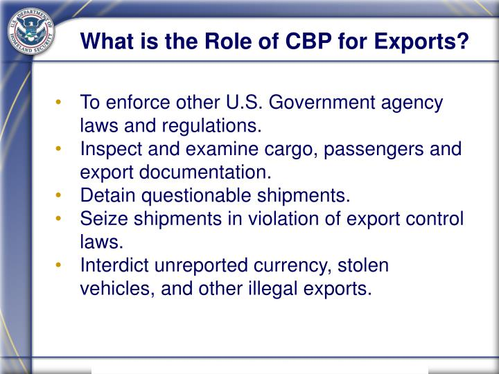 What is the Role of CBP for Exports?