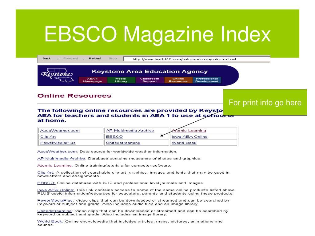 EBSCO Magazine Index