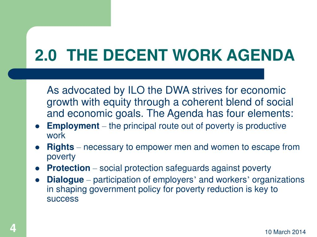 2.0THE DECENT WORK AGENDA